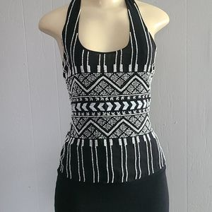 Parker Black Top with White Beads